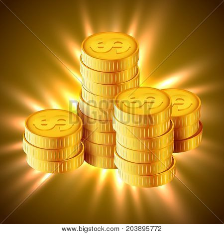 Vector Illustration of golden coins. Concept of wealth. Increase earnings. Business finance. Vector illustration
