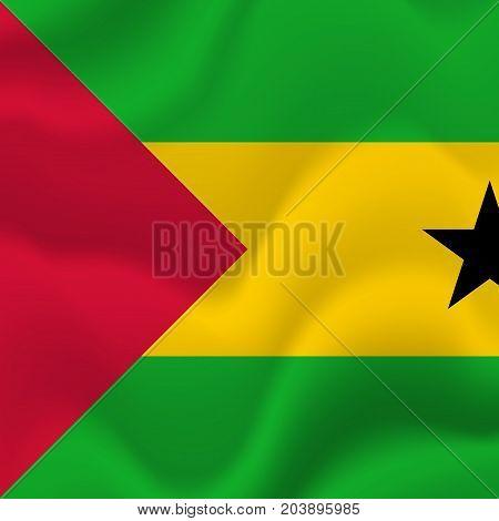 Sao Tome and Principe waving flag. Vector illustration.