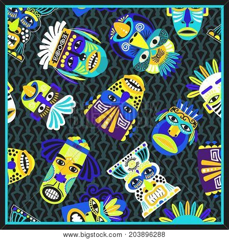 Blue psychedelic bandana with masks and geometric pattern, vector illustration