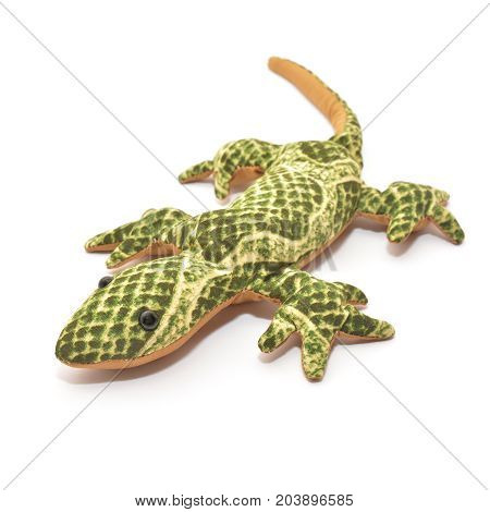 plush lizard toy isolated on white background