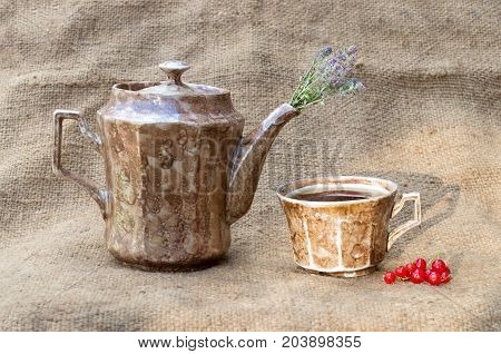 A teapot and a mug with tea. Flowers of thyme. On a baggy background. In the morning