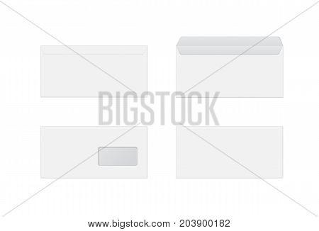 Mockup realistic envelopes with window. vector illustration on white background.