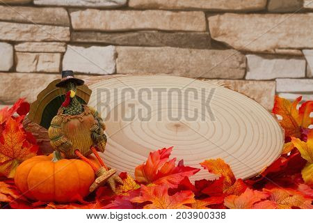 Autumn Time Background Some fall leaves with cut wood plaque and a turkey on a pumpkin on weathered brick with copy space for your message