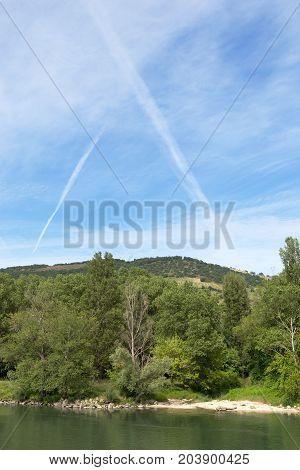 Vapour Trails, Rhone Valley, between Lyon & Avignon