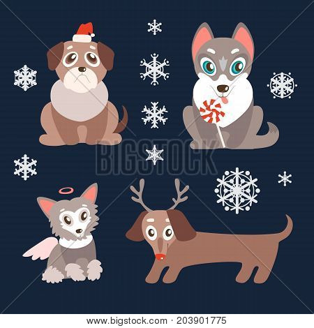 Vector set of puppies with christmas symbols. Cute dogs, best friends. Pug, husky, dachshund and Chinese Crested. Different breeds. Holiday characters.