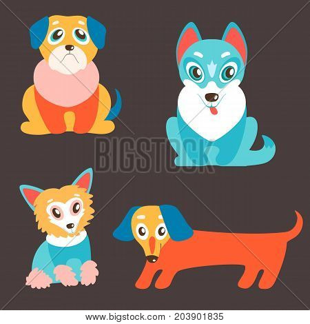 Vector set of puppies. Cute dogs, best friends. Pug, husky, dachshund and Chinese Crested. Different breeds. Lovely pets