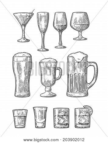 Set glass beer whiskey wine gin rum tequila cognac champagne cocktail. Vector engraved black vintage illustration isolated on white background