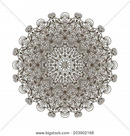 Mandala. Decorative round ornament. Anti-stress therapy pattern. Hand drawn ornament. Islam, Arabic, Indian style
