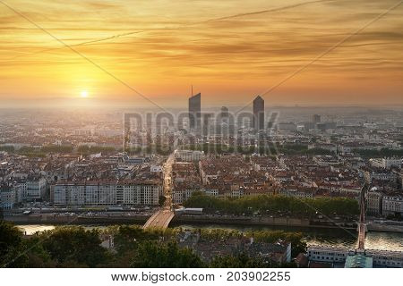 VIew of the city of Lyon from the hill La Fourviere. Old city and New city is on this picture. Cityscape of Lyon France from la Fourviere