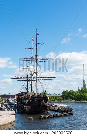 St. Petersburg, Russia - June 03. 2017 A restaurant in a sailboat Flying Dutchman