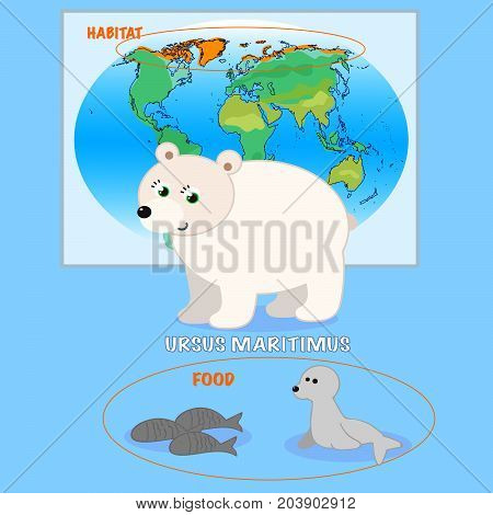 Cartoon white bear with food and habitat, vector illustration