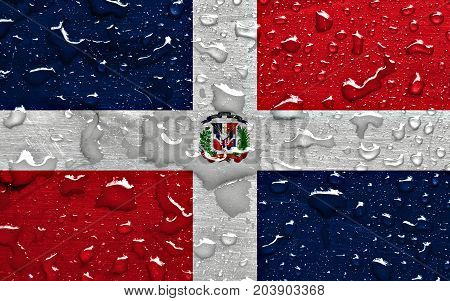 flag of Dominican Republic with rain drops