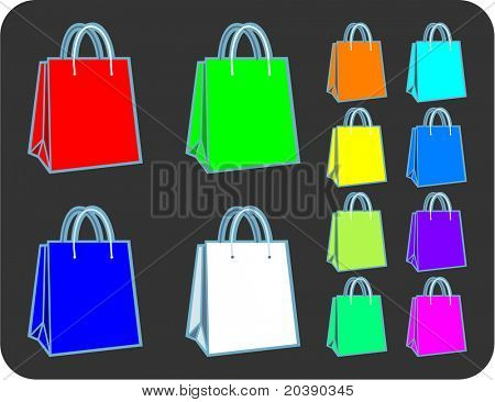 Collection of RGB spectrum shopping or gift bags in vector format