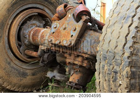 Old and Rusty Rear Differential of Truck
