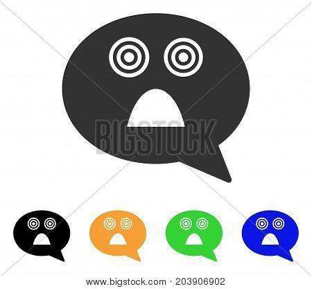Afraid Smiley Message icon. Vector illustration style is a flat iconic afraid smiley message symbol with black, grey, green, blue, yellow color variants. Designed for web and software interfaces.