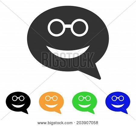 Glasses Smiley Message icon. Vector illustration style is a flat iconic glasses smiley message symbol with black, gray, green, blue, yellow color variants. Designed for web and software interfaces.