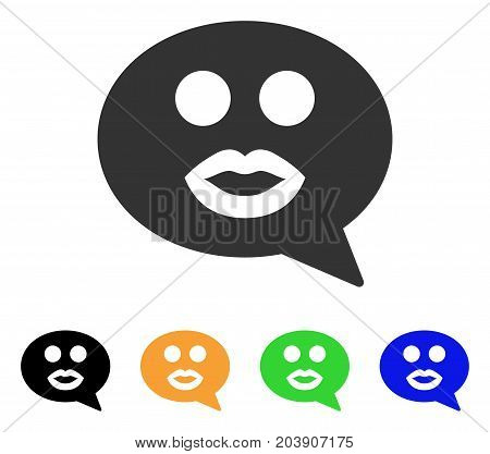 Kiss Smiley Message icon. Vector illustration style is a flat iconic kiss smiley message symbol with black, gray, green, blue, yellow color versions. Designed for web and software interfaces.