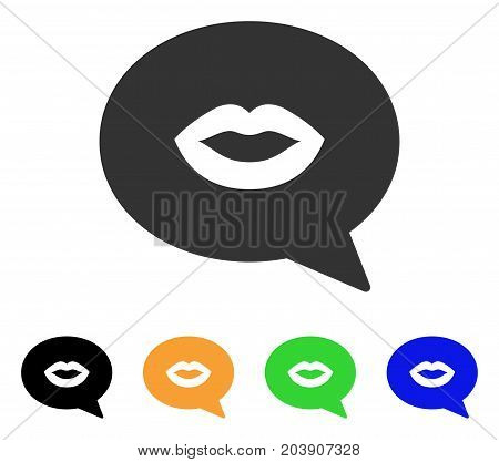 Lips Smiley Message icon. Vector illustration style is a flat iconic lips smiley message symbol with black, gray, green, blue, yellow color variants. Designed for web and software interfaces.