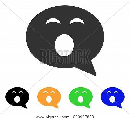 Sleepy Smiley Message icon. Vector illustration style is a flat iconic sleepy smiley message symbol with black, grey, green, blue, yellow color versions. Designed for web and software interfaces.