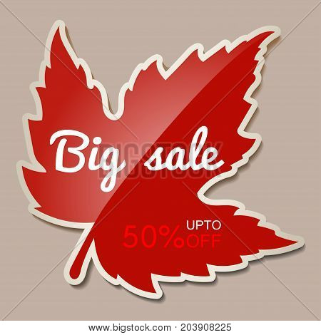 Autumn Big sale banner with red maple leaf - 50 percent off. Vector illustration with autumn red maple leaf. Red sticker for autumn sale with leaf. Fall discount.