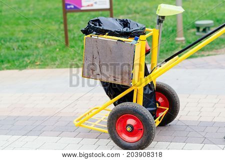 Yellow Cleaning Service Trolley