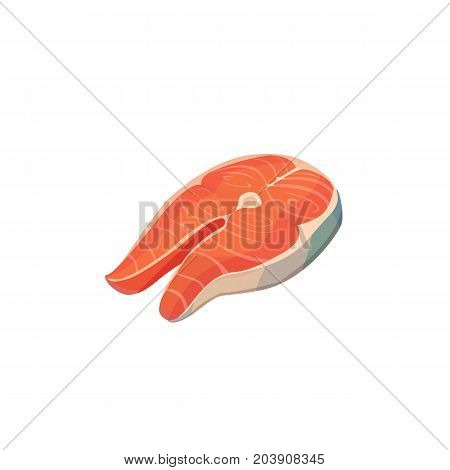 red fish sliced. Salmon Sliced illustration Vector