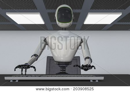 A robot taps something into the computer keyboard (3d rendering)