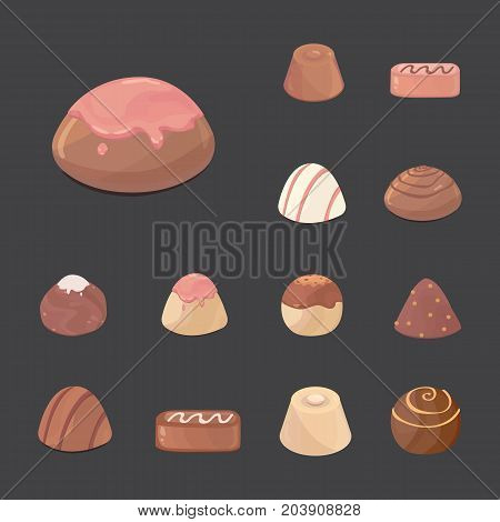 vector set of chocolate candies. cartoon illustartion on dark background.