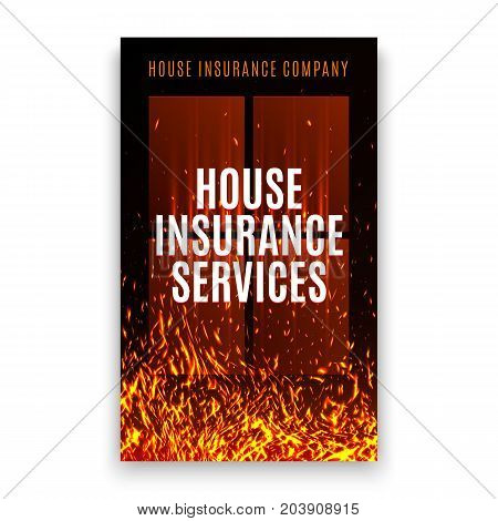House insurance company cover template with fire texture. House on fire poster flyer leaflet. Fire insurance banner. Advertising poster with flame. Fire security brochure. Vector illustration