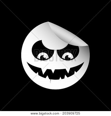 Aggressive and evil sociopath white on a black background
