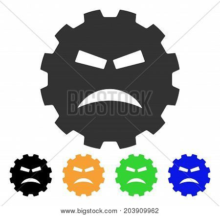 Furious Smiley Gear icon. Vector illustration style is a flat iconic furious smiley gear symbol with black, grey, green, blue, yellow color variants. Designed for web and software interfaces.