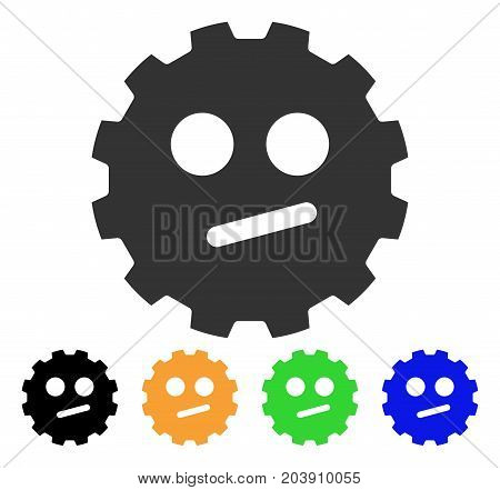 Indifferent Smiley Gear icon. Vector illustration style is a flat iconic indifferent smiley gear symbol with black, gray, green, blue, yellow color versions. Designed for web and software interfaces.
