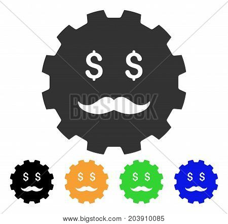 Investor Smiley Gear icon. Vector illustration style is a flat iconic investor smiley gear symbol with black, gray, green, blue, yellow color variants. Designed for web and software interfaces.