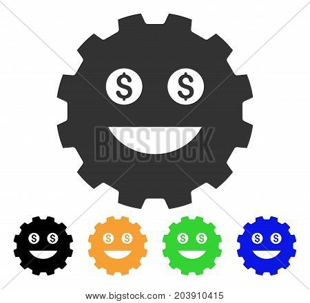 Lucky Smiley Gear icon. Vector illustration style is a flat iconic lucky smiley gear symbol with black, grey, green, blue, yellow color versions. Designed for web and software interfaces.