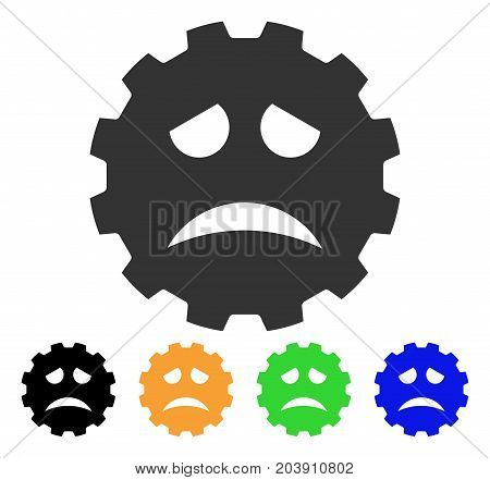 Sadness Smiley Gear icon. Vector illustration style is a flat iconic sadness smiley gear symbol with black, gray, green, blue, yellow color versions. Designed for web and software interfaces.