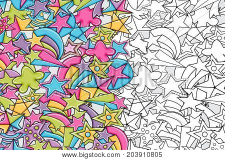 Stars cartoon doodle outline design. Cute black and white lineart background concept for party decoration, greeting card,  advertisement, banner, flyer, brochure. Hand drawn vector illustration.