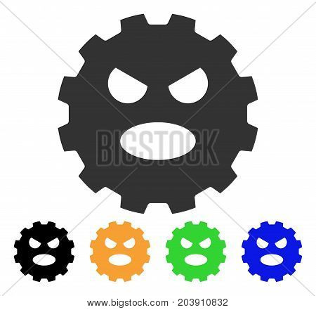 Scream Smiley Gear icon. Vector illustration style is a flat iconic scream smiley gear symbol with black, gray, green, blue, yellow color versions. Designed for web and software interfaces.