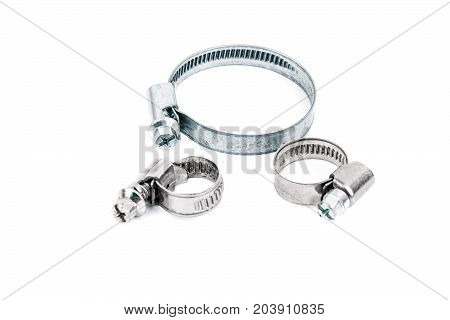 Industry Steel Clamps. Metal From Different  For Clamps On The Isolated White Background. Metal Clam