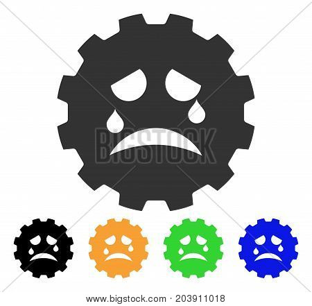Tiers Smiley Gear icon. Vector illustration style is a flat iconic tiers smiley gear symbol with black, gray, green, blue, yellow color variants. Designed for web and software interfaces.