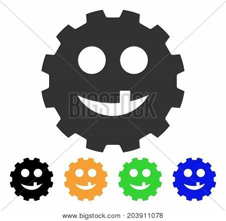 Tooth Smiley Gear icon. Vector illustration style is a flat iconic tooth smiley gear symbol with black, grey, green, blue, yellow color versions. Designed for web and software interfaces.