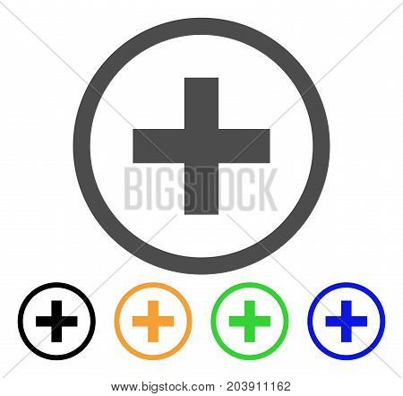 Add icon. Vector illustration style is a flat iconic add symbol with black, gray, green, blue, yellow color variants. Designed for web and software interfaces.