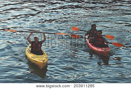 Boston, Massachusetts - September 27 2014: People kayaking  on Charles River in Boston,  Massachusetts