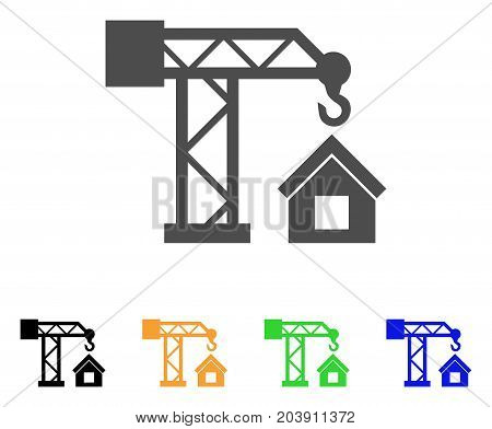 Crane House Building icon. Vector illustration style is a flat iconic Crane House Building symbol with black, grey, green, blue, yellow color variants. Designed for web and software interfaces.