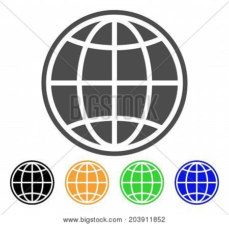 Internet Globe icon. Vector illustration style is a flat iconic internet globe symbol with black, grey, green, blue, yellow color versions. Designed for web and software interfaces.