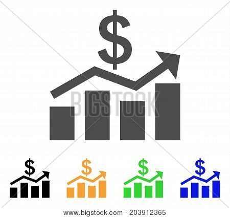 Sales Chart icon. Vector illustration style is a flat iconic sales chart symbol with black, gray, green, blue, yellow color versions. Designed for web and software interfaces.