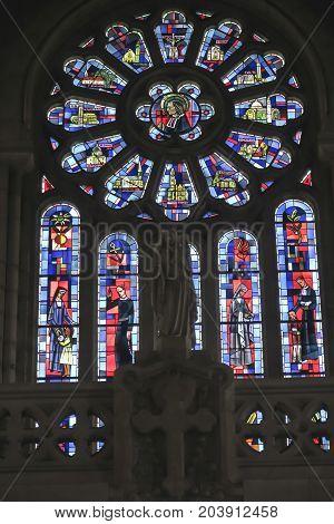 Saint-Laurent-sur-Sevre France - September 10 2019: Stained glass of Saint Louis Montfort in Catholic church in Saint-Laurent-sur-Sevre France.