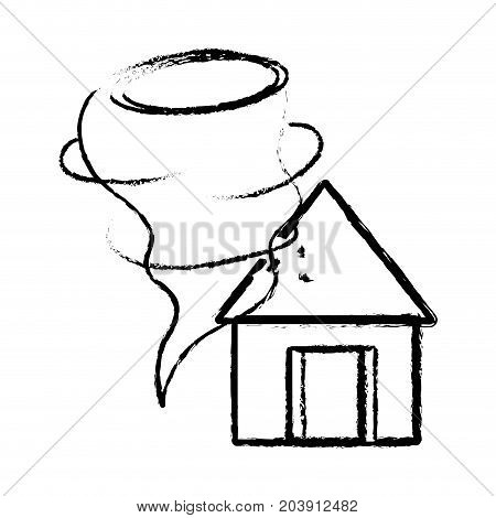 figure house with tornado storm disaster weather vector illustration