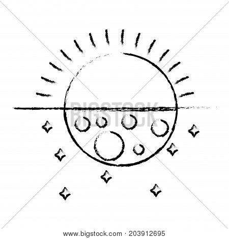 figure eclipse of moon and sun universe mystic vector illustration