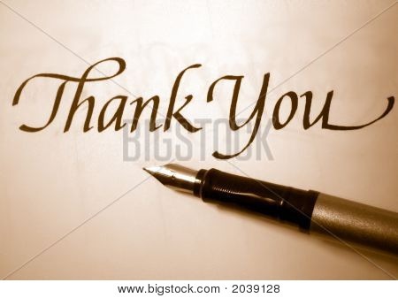 thank you in calligraphy with sepia tone poster