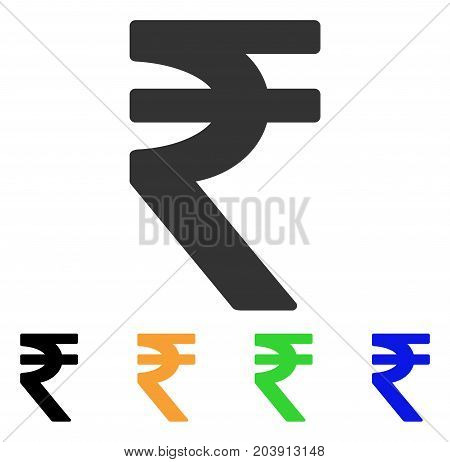 Indian Rupee icon. Vector illustration style is a flat iconic indian rupee symbol with black, grey, green, blue, yellow color versions. Designed for web and software interfaces.